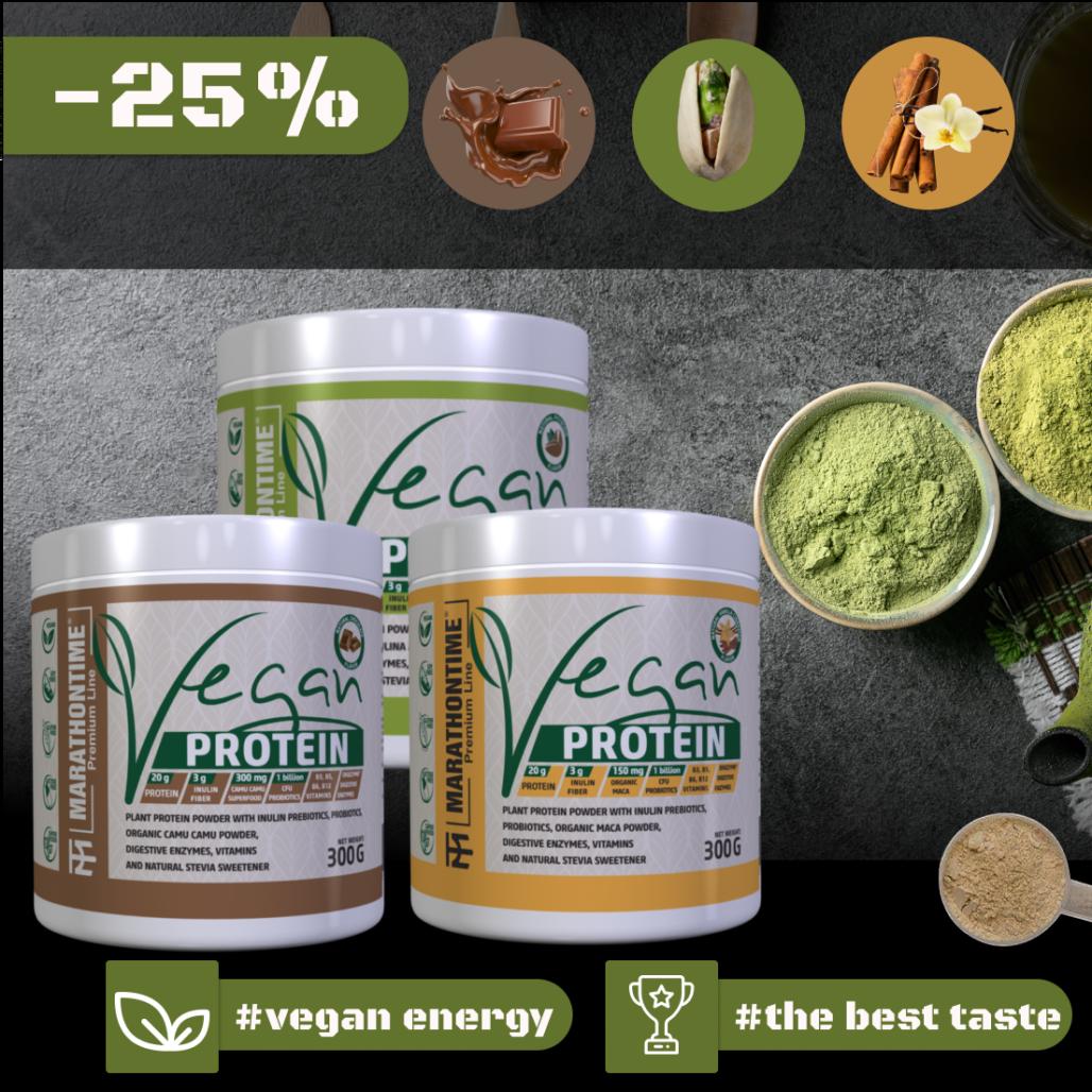 Vegán Protein 300g  új formula étrend-kiegészítő Marathontime prémium minőség