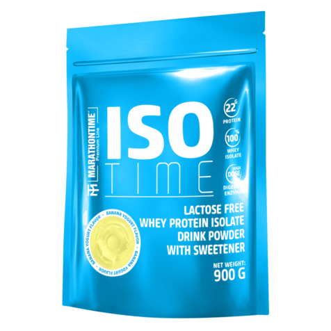 Iso Time Banán yoghurt  900g Laktózmentes  új formula étrend-kiegészítő Marathontime prémium minőség
