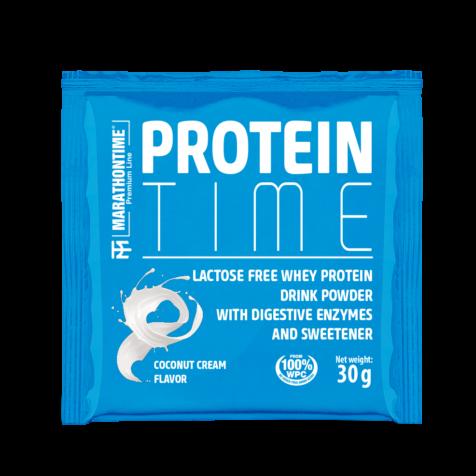 Protein Time Laktózmentes 30g Kókuszkrémes íz  új formula étrend-kiegészítő Marathontime prémium minőség
