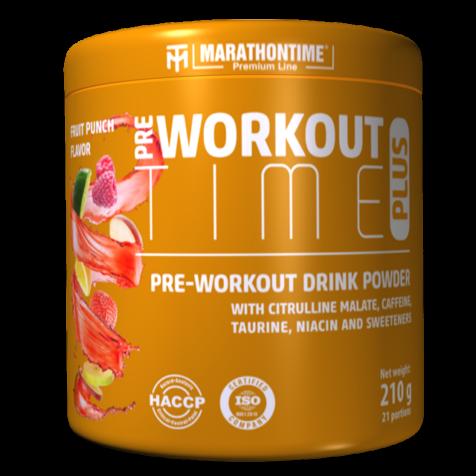 Pre-workout Time Plus 210 g gyümölcs puncs íz  Marathontime új generációs edzés előtti italpor