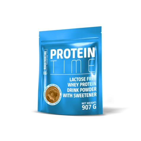 Protein Time Laktózmentes 907g Sós Karamell íz  új formula étrend-kiegészítő Marathontime prémium minőség