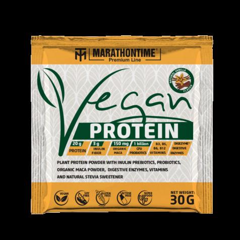 Vegán Protein 30g Vaníilia íz  új formula étrend-kiegészítő Marathontime prémium minőség