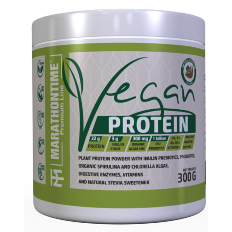 Vegán Protein 300g Pisztáciás íz  új formula étrend-kiegészítő Marathontime prémium minőség
