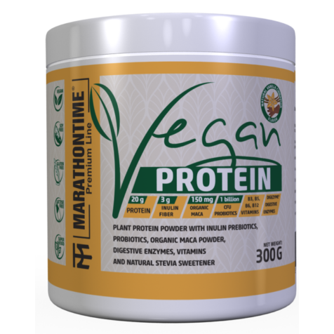 Vegán Protein 300g Vaníilia íz  új formula étrend-kiegészítő Marathontime prémium minőség